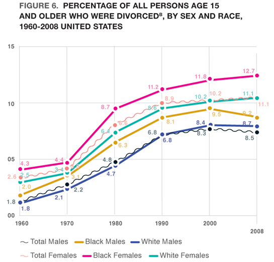 Figure 6. Percentage of All Persons Age 15 and Older Who Were Divorcedb, by Sex and Race, 1960-2008 United States